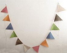 12 Pcs / Set color linen triangle flag  Christmas wedding party decorations DIY handmade craft  4 meters Total Length AA8058