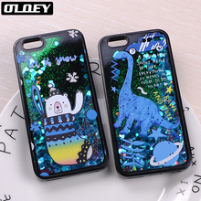 OLOEY Glitter Liquid Sparkle Dinosaur Bear Flamingo Star Outer Space Baseball Cartoon Case For iPhone5 7 7Plus 6 6Plus 8 8Plus(China)