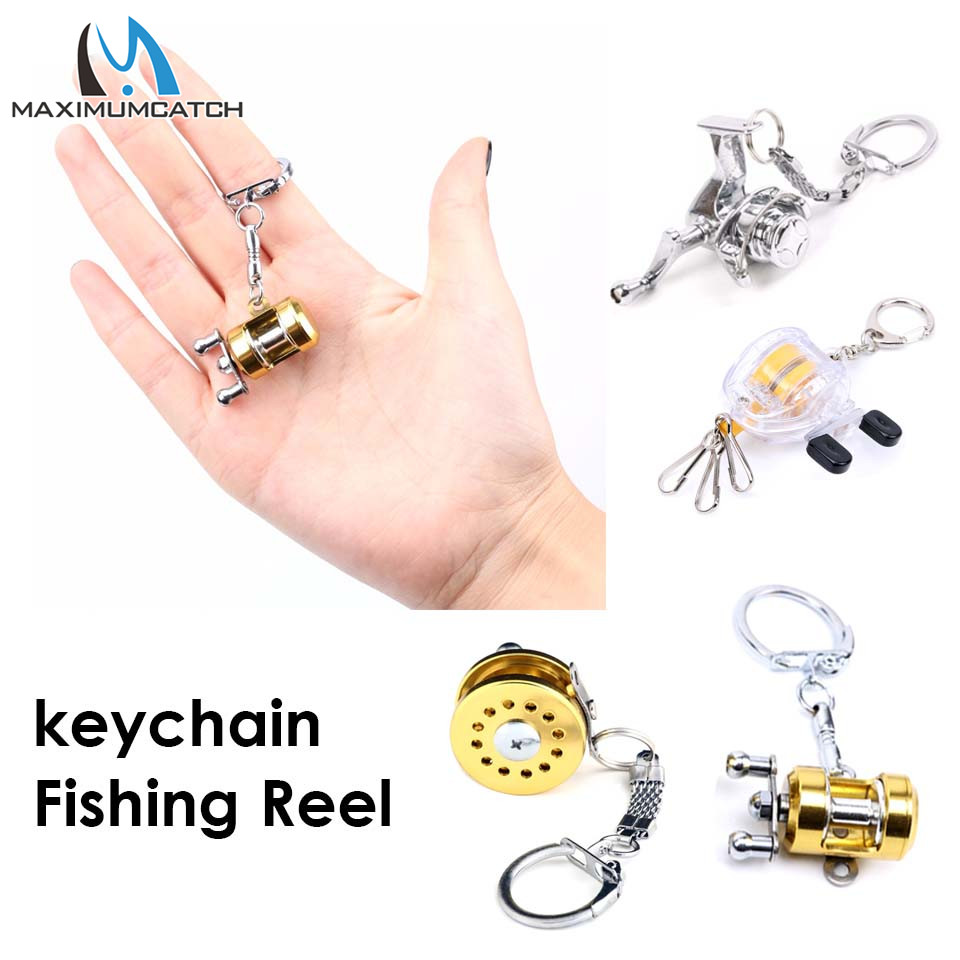 Maximumcatch 2pc Key Chain With Key Ring Fishing Reel Keychain Scroll Retractor Fishing Accessory