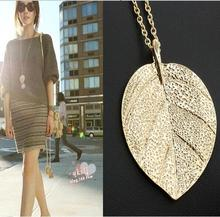 Cheap Fashion Jewelry Maxi Necklace Gold Color Chain Leaf Design Pendant Necklaces & Pendants 2016 New For Women C495(China)