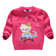 Korean Girls Autumn hello kitty Clothing 2017 New Children Long Sleeve Knitting Warm Clothing Kids Cartoon Sweaters