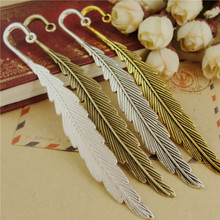 10pcs Retro Big Feather bookmark Color Optional DIY craft Jewelry making Gifts production material A1834(China)