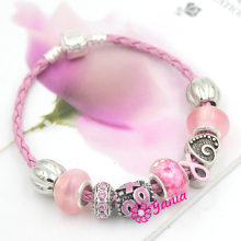 Newest Breast Cancer Awareness Jewelry, European Bead Pink Ribbon Style Breast Cancer Awareness Bracelet for Cancer Center