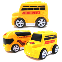 2Pcs/Set Children Toy School Bus miniature truck plastic Toy Vehicles Yellow School Bus Kids toys for children(China)