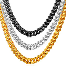 55CM 6MM Thick Cuban Chain For Men Necklace With yellow Gold Plated Punk For Men Chain Stainless Steel Necklaces N231