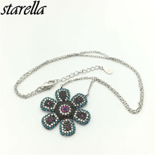 Starella 925 Sterling Silver Micro Pave CZ and Nano Turquoesa Turkey Style Nice Flower Pendant Necklace Collar Joyeria Gift(China)