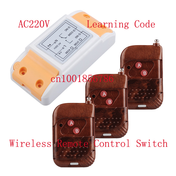 AC220V 10A 1CH RF wireless remote control switch 1Receiver &amp;3Transmitter Learning code adjustable 315/433MHZ control switch<br><br>Aliexpress