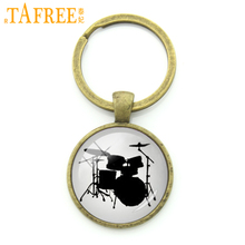TAFREE Fashion drum set key chain ring holder vintage drum kit silhouette art musical instrument keychain jewelry men gift KC370
