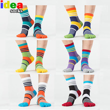 Mens Summer Cotton Toe Socks Striped Contrast Colorful Patchwork Men Five Finger Socks Free Size Basket Calcetines