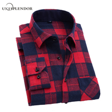 Men Flannel Plaid Shirt Cotton 2017 Spring Autumn Casual Long Sleeve Shirt Soft Comfort Slim Fit Style Brand Man Clothes YN10184(China)