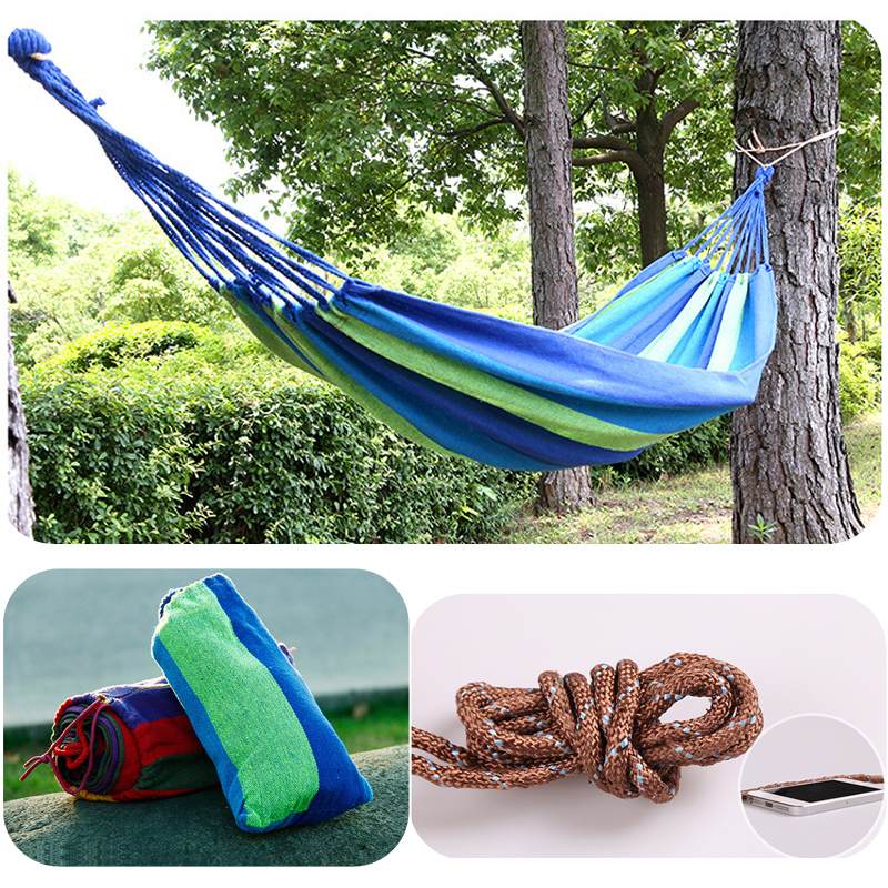Outdoor Hammock for Travel Camping Colorful Fabric Hanging Bed for Traveling or Relexing<br>