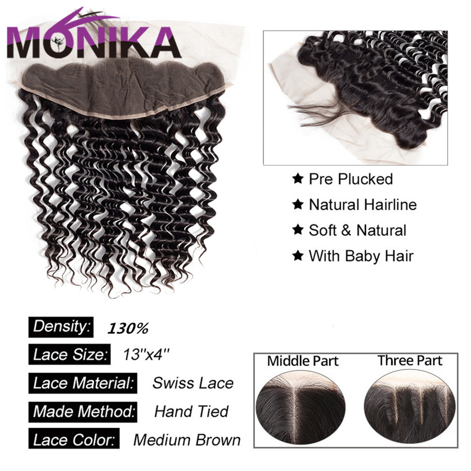 Brazilian Deep Wave 134 Lace Frontal Ear to Ear Closure FreeMiddleThree Part Frontal with Baby Hair Monika 100% Human Hair (2)