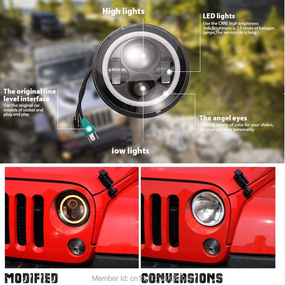 97-15 Jeeps Wrangler LED Headlights with Angel eyes 7 Round LED Headlamp for Wrangler JK Hummer LandRover<br><br>Aliexpress