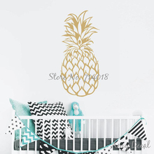Large Pineapple Wall Decal Gold Pineapple Decor Unique Gift Idea Living Room Home Decor Art adesivo de parede Vinyl Sticker A731(China)