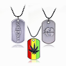Men Hip Hop Jewelry Necklace Stainless Steel Dog Tag Necklace Beads Chain Metal Pendants&Necklace