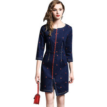 Split ends Spring Summer Denim Embroidery Women Dress 2018 New Fashion Cowboy Ladies sexy Dresses Top Quality Vestidos Vadim 505(China)