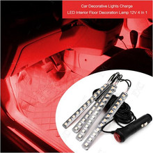 Red Neon 12 LED Car Interior Floor Decorative Atmosphere Light Lights Strip Car styling(China)