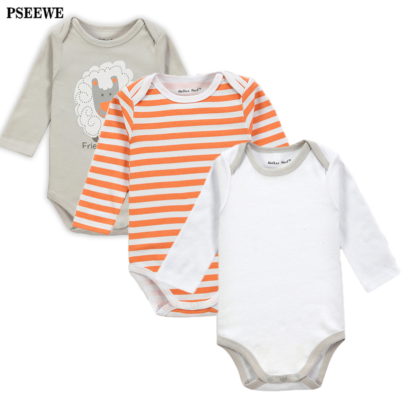 3Pieces/lot Cotton Romper for baby Boy Clothes Jumpsuit Autumn winter long sleeved bebe girl Romper new born baby clothes<br><br>Aliexpress
