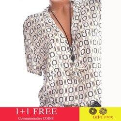 Женская блуза большого размера, с V-образным вырезом, принтом и полурукавом