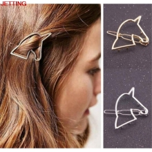 JETTING-New Fashion Women Hollow Out Unicorn Geometry Hairpin Gold/Silver Barrettes Hair Clip Headwear Hair Accessory