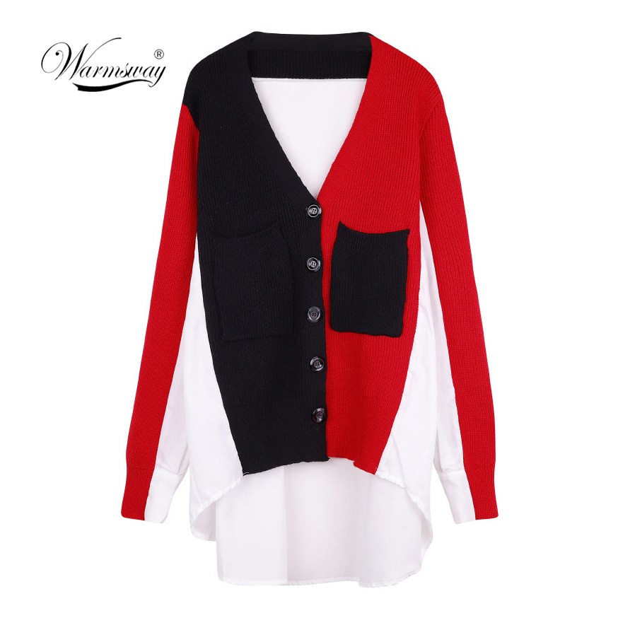 Sweet Plus Size Color Block Pockets Cardigan 2019 New Spring Shrug Women Cardigan Button Coat Knit Tops Runway Outwear C-063