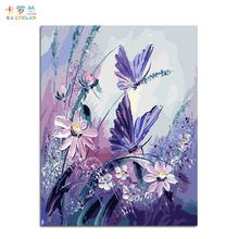 Frameless pictures painting by numbers hand painted canvas cartoon drawing diy oil painting by numbers 40*50cm butterfly(China)