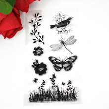 Flower plants Butterfly TPR clear Transparent Stamp DIY Scrapbooking/Card Making/Christmas Decoration Supplies