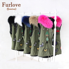 2017 New Winter Fur Vest Hooded British Style Army Green Color Real Raccoon Fur Collar Women Gilets Brand Hot Sale