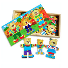 Cartoon Three Bears Dress Changing Dressing Jigsaw Wood Puzzle Toy for Children Kids Baby Intelligence Development HT2915(China)