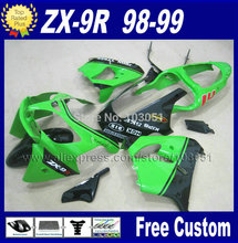OEM custom motorcycle fairings kit for kawasaki ninja 1998 1999 ZX9R ZX 9R green black fairing kits 98 99 repair body parts