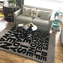 carpet letters. gray black letters rug acrylic carpet alfombras modern handmade carpets living room bedroom creative coffee table