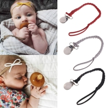 Buy Leather Pacifier Clips Chain Dummy Clip Pacifier Holder Braided Binky Clip Nipple Holder Soother Chain Infant Baby Feeding for $1.42 in AliExpress store