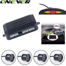 Universal Car LED Parking Sensor With 4 Sensors 12V Cars Sensor De Estacionamento Reverse Assistance Backup Radar Monitor System(China)