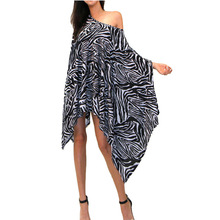 Plus-size 2xl 3xl European style Fashion Zebra Grain Printing Easy Cloak Bat Sleeve Irregular Will Code Women's clothing #(China)