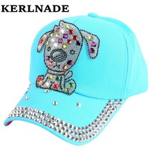 cheap promotion boy girl children beauty summer baseball cap with big rhinestone dog animal style character hip hop snapback hat