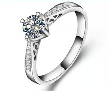 Genuine Gold 14K Hollow Style Semi Mount Fancy Jewelry 0.5CT SONA Diamond Ring Engagement Female Jewellery White Gold