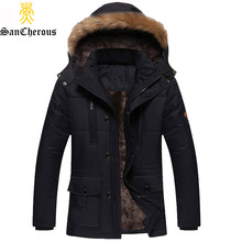 2017 New Men Fashion Style Outerwear Thick Warm Inside Winter Jacket Fur Collar Detachable Men Parkas(China)