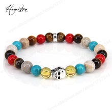 Thomas Colorful Material Mix Featuring Skull Bead Bracelet, Glam Jewelry Soul Gift for Women TS 93