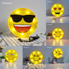 DELICORE Novelty Cool Face Night Light Children Bedroom Nursery emoji Night Lamp Mini Cloud Light Emitting Baby Room Decor S143(China)