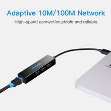 Vention USB 2.0 Hub With 10/100Mbps Network Ethernet Adapter Card 3 ports USB HUB Splitter For Macbook Tablet PC Laptop Smart TV(China)