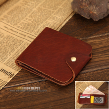 Men's Wallet Made in Natural Genuine Leather Hasp with Metal Snap Vintage Brown Cowhide Real Leather Purse with flap cover