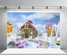 Laeacco Wonderful Candy Land House Lollipop Baby Photography Backdrops Vinyl Custom Photographic Backgrounds For Photo Studio(China)