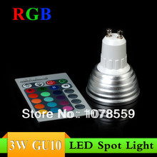 Wholesale 10Pcs 3W RGB LED Spot Lighting GU10 16 colour High Tech LED Lamp Spot light + IR remote control Free shipping