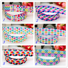 7/8'' Free shipping plaid pattern flower printed grosgrain ribbon hairbow headwear party decoration diy wholesale OEM 22mm P5986