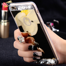 KISSCASE Diamond Mirror Case For iPhone 7 6 6S Plus 5s SE Handmade Rhinestone Crystal Acrylic Cover For Apple iPhone 6 7 6S 5S