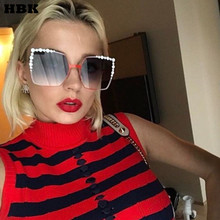 HBK 2017 Women Oversized Aviation Square Sunglasses Women Diamond New Fashion Brand Designer Black Red Female Sun Glasses