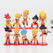 Dragon Ball 10pcs/set Son Gokou Action Figures Young Gokou Super Saiyan Doll PVC figure Toys Brinquedos Anime 5-8cm(China)