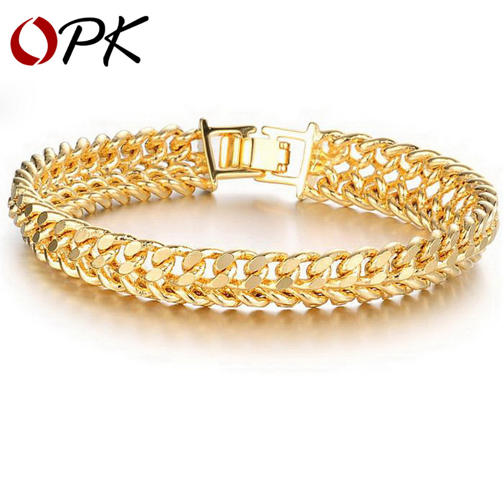 OPK Cool Man Gold Color Bracelet Chain Bracelets Men Never Fade Anti-allergy Wide Surface 11MM Jewelry 158