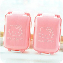 1PC Cartoon Hello Kitty Outdoor Travel Pill Cases Portable Medicine Box Tablet Dispenser Storage Container 2D(China)