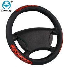 New Faux Leather Car Steering Wheel Covers Hubs With Rubber Ring Reflect Light Car Accessories Red 38cm On Sale Free Shipping(China)